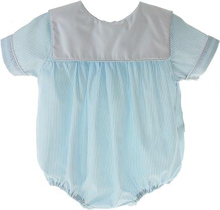 2ae85bd73 Petit Bebe Boys Blue Dressy Bubble Outfit Square Bib Collar Monogrammable 3M