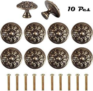 Poign/ée de porte ou bouton de meubles vintage en bronze de style ancien pour armoires de cuisine