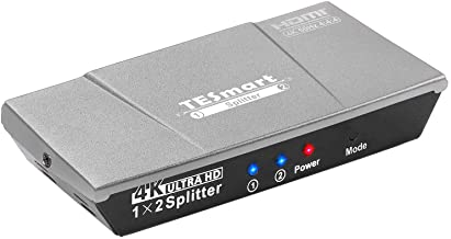 TESmart HDMI Splitter 1 Input 2 Output 4K@60Hz 4:4:4 Ultra HD Dual Monitors Compatible with PC PS3 PS4 Xbox-HDMI, HDCP 2....