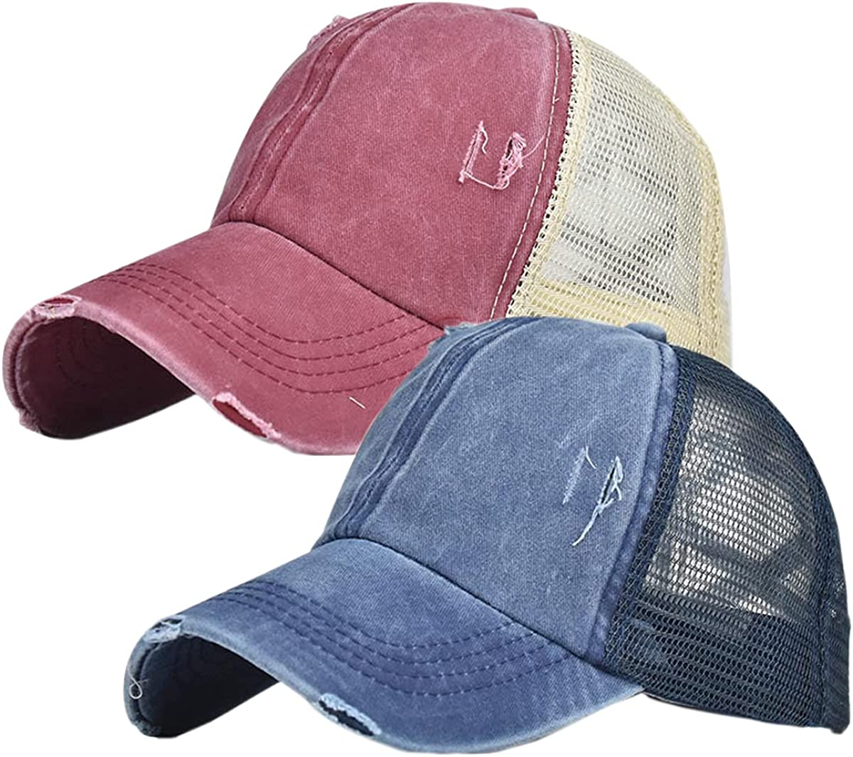 Criss Cross Hat Washed Distressed Ponytail Hats for Women Baseball Cap Messy High Bun