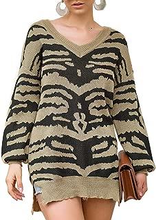 Zandiceno Women's Zabra Print Sexy V Neck Split Long Knit Pullover Sweaters Loose Pregnant Soft Asymmetrical Fashion Autumn Jumper Streetwear Khaki 4/6