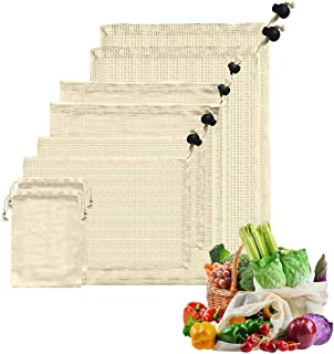 comprar comparacion AOKKR Bolsas de Malla Reutilizables, 8 unidades, bolsas reutilizables compra, Algodón 100% Ecológico para Verduras y Fruta...