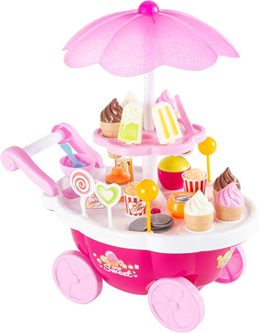 Battery Operated Kitchen Food Cart Ice Cream Trolley With Sound /& Light Playset