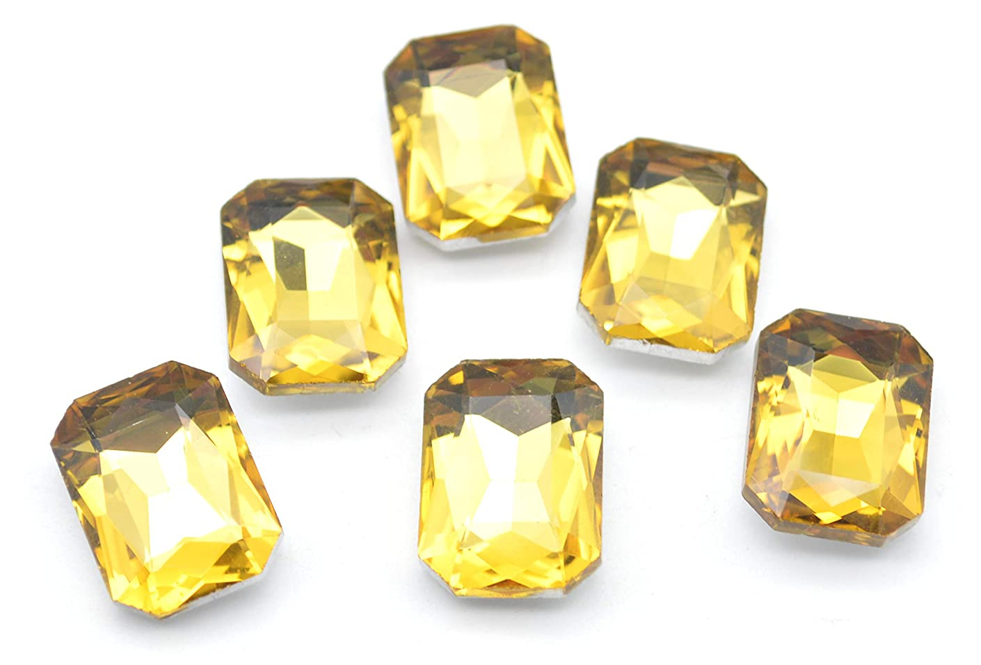Catotrem Glass Diamante Faceted Octagon Rectangle Rhinestone Pointback Stone for Arts Crafts 13X18mm 50Pcs(Yellow)
