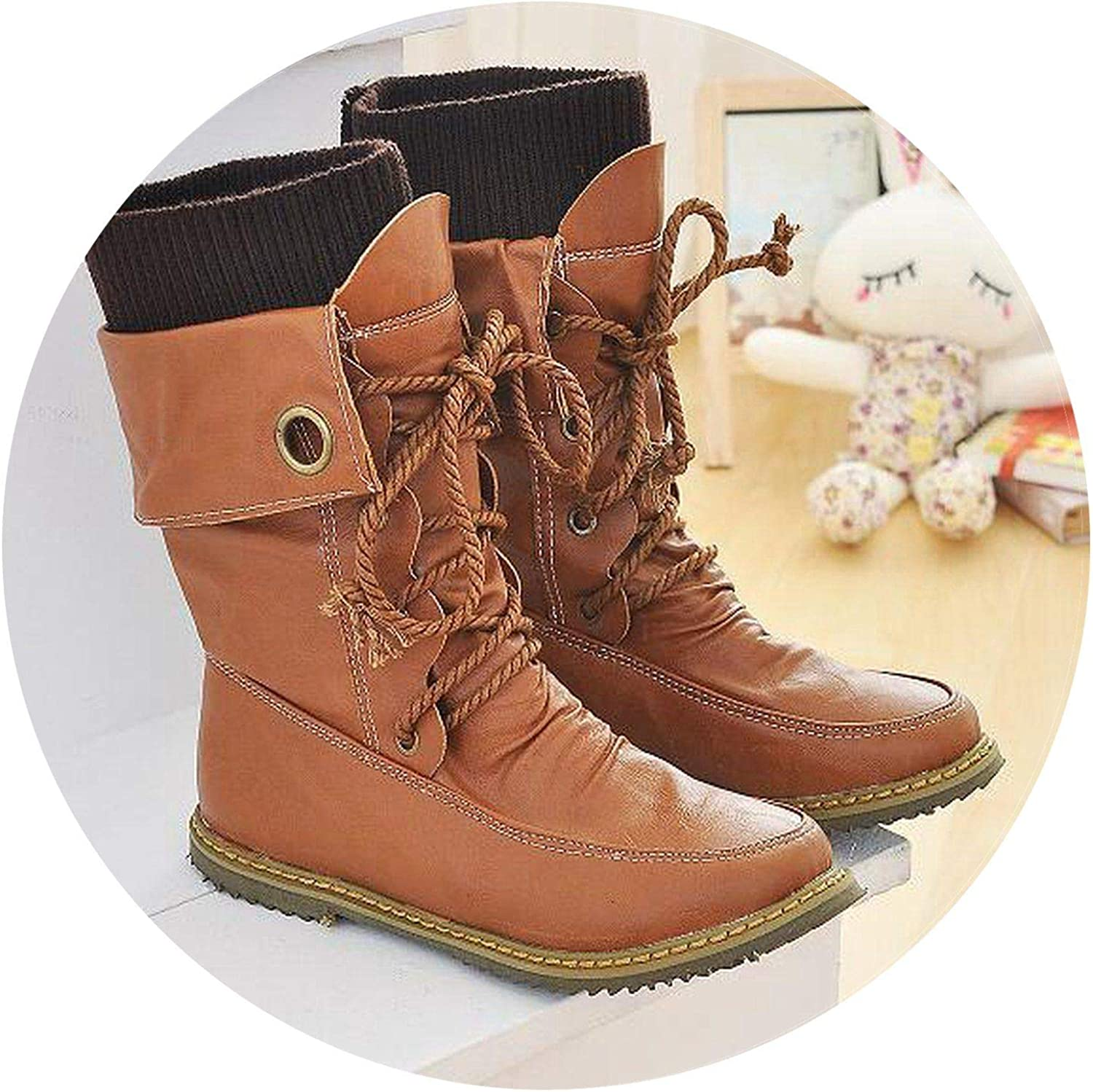 Summer-lavender Winter Women Boots Mid PU Leather Motorcycle Boots for Woman Snow Boots Lace-up Martin Boots Big