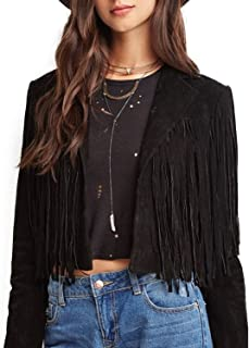 ASMAX HaoDuoYi Womens Faux Suede Leather Tassel Biker Crop Jacket
