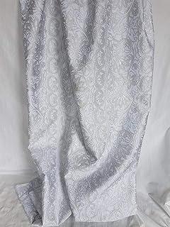 Scampoli di tessuto in seta jacquard con motivi ornamentali in rilievo tono in tono color argento (Gallery col. 1)