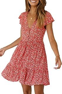 Women's Floral Print V Neck Mini Dress Casual Short Sleeve Boho Swing Dress