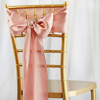BalsaCircle 100 Mauve Satin Chair Sashes Bows Ties for Wedding Decorations Party Supplies Events Chair Covers Decor Banquet Reception