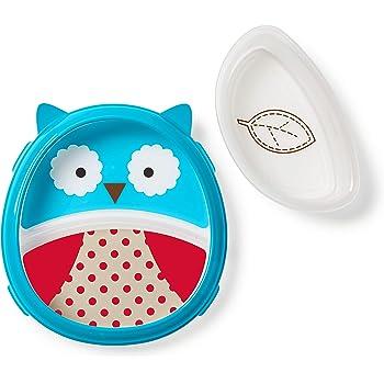 Skip Hop - Juego de plato y tazón para bebé, diseño de búho, color azul, rojo y blanco