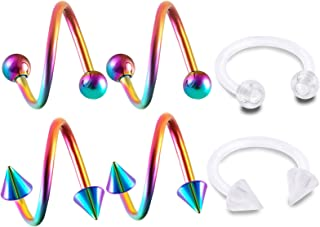 6pcs 16g Spiral Barbell Rainbow Anodized Cartilage Lip Tragus Eyebrow Hoop Helix Twisted Bar Studs Balls ACWB Pick Size