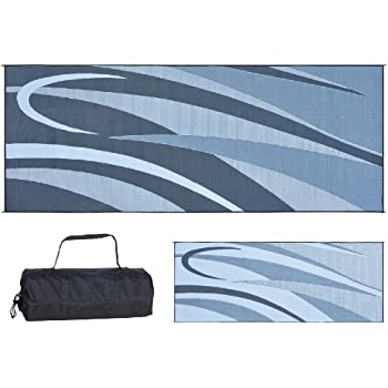 Ming's Mark GC1 Stylish Camping Reversible Graphic Patio Mat - 8' x 20', Black/Silver
