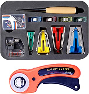 Bias Tape Makers Set - Sewing Fabric Bias Tape Making Kit, Bias Tape Maker Tool 4 Sizes with Binder Foot, Quilting Clips, Awl and Fabric Cutter for Patchwork Sewing Quilting Binding