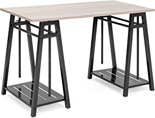 Best Choice Products Multipurpose Adjustable Height Sit to Stand Home Office Desk w/Reclaimed Wood Finish, Steel Frame, Shelves, Brown