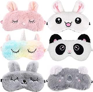 Cute Sleep Mask for Kids,Aniwon 6 Pack Animal Sleeping Mask Soft Plush Blindfold Eyeshade Cute Rabbit Panda Koala Unicorn Eye Covers Eye Mask for Girls Women Kids Favor