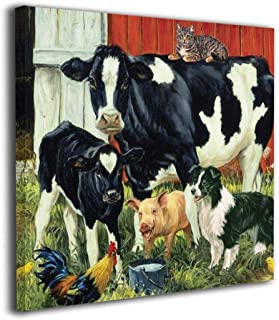 Fu Qi Rui Shang Mao Canvas Wall Art Prints Farm Animals Cow Pig Barn Rooster Dog Cat Farmhouse Picture Paintings Contemporary Home Decoration Giclee Artwork Wood Frame Gallery Stretched 20