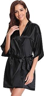 49f9524aab Aibrou Peignoir Satin Robe de Chambre Kimono Femme Sortie de Bain Nuisette  Déshabillé Vêtements de Nuit