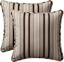 Pillow Perfect Outdoor | Indoor Getaway Stripe Onyx 16.5 Inch Throw Pillow, 16.5 X 16.5 X 5, Black