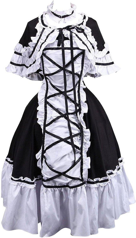 Cemavin Cotton Black and White Lace Ruffles Cotton Gothic Lolita Dress