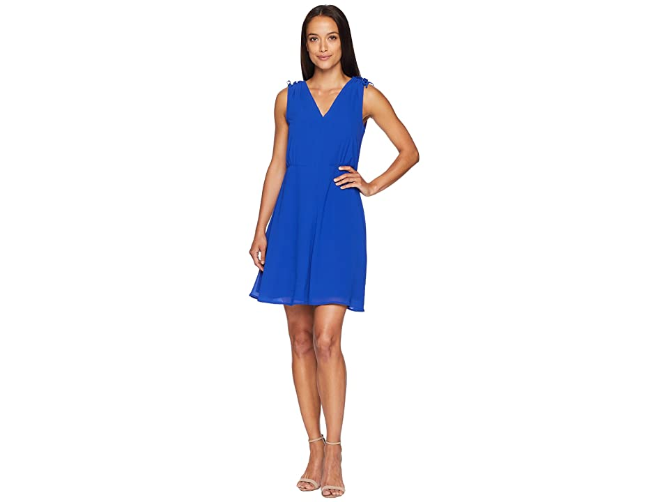 Vince Camuto Chiffon V-Neck Fit and Flare with Shoulder Details (Cobalt) Women