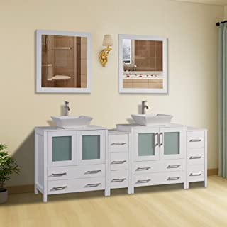 Vanity Art 84 inch Double Sink Bathroom Vanity Combo Set 10-Drawers, 2-Shelves, 4 Cabinet Quartz Top and Ceramic Sink Bathroom Cabinet with Mirror - VA3130-84-W