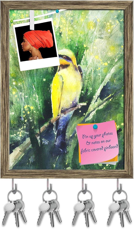 Artzfolio Tropical Bird Sitting On A Branch Key Holder Hooks   Notice Pin Board   Antique golden Frame 12 X 16.2Inch