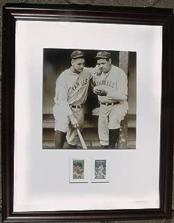 nat archives Framed 11x14 Photo c1935 Babe Ruth & Lou Gehrig us Postage Stamp Set