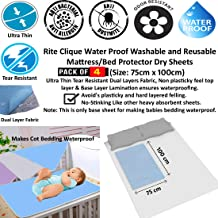 Rite Clique Waterproof Washable and Reusable Mattress/Bed Protector Dry Sheets, Pack of 4, Blue, 75x100 cm