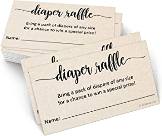 321Done Diaper Raffle Tickets with Name (50 Cards) 3.5 x 2 Inches, Baby Shower Game, Enter to Win Drawing, Prize, Tan Kraft Color