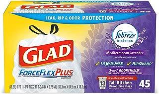 Glad Tall Kitchen Drawstring Trash Bags – ForceFlexPlus 13 Gallon White Trash Bag, Mediterranean Lavender – 45 Count