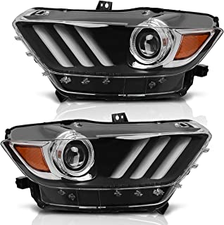 For 2015 2016 2017 Ford Mustang Headlight Assembly Black Housing with Amber Reflector Clear Lens (Passenger and Driver Side)