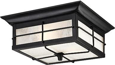 Westinghouse Lighting 6204800 Orwell 2 Light Outdoor Flush Mount Fixture, Textured Black