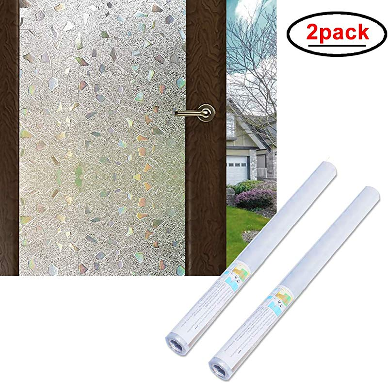Wopeite 3D Window Film Self Adhesive 2 Pack Frosted Semi Privacy Static Cling Home Bedroom Bathroom Glass 35 4X 78 7 Inches