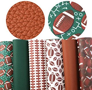 David Angie Football Soccer Ball Printed Faux Leather Sheet PU Litchi Leather Sheet Assorted 6 PCS 7.9