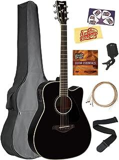 Yamaha FGX830C Solid Top Folk Acoustic-Electric Guitar - Black Bundle with Gig Bag, Tuner, Strings, Strap, Picks, Austin Bazaar Instructional DVD, and Polishing Cloth
