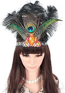 A&C Indian Feather Headband and Headpiece for Women, Fashion Samba Carnival Head Chain for Girls