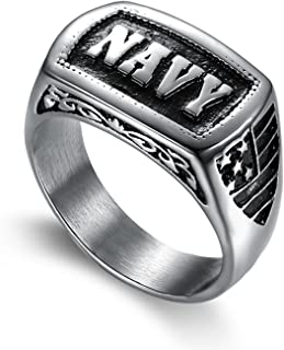 LILILEO Jewelry Stainless Steel Men's Rings US Marine Corps NAVY Punk Ring