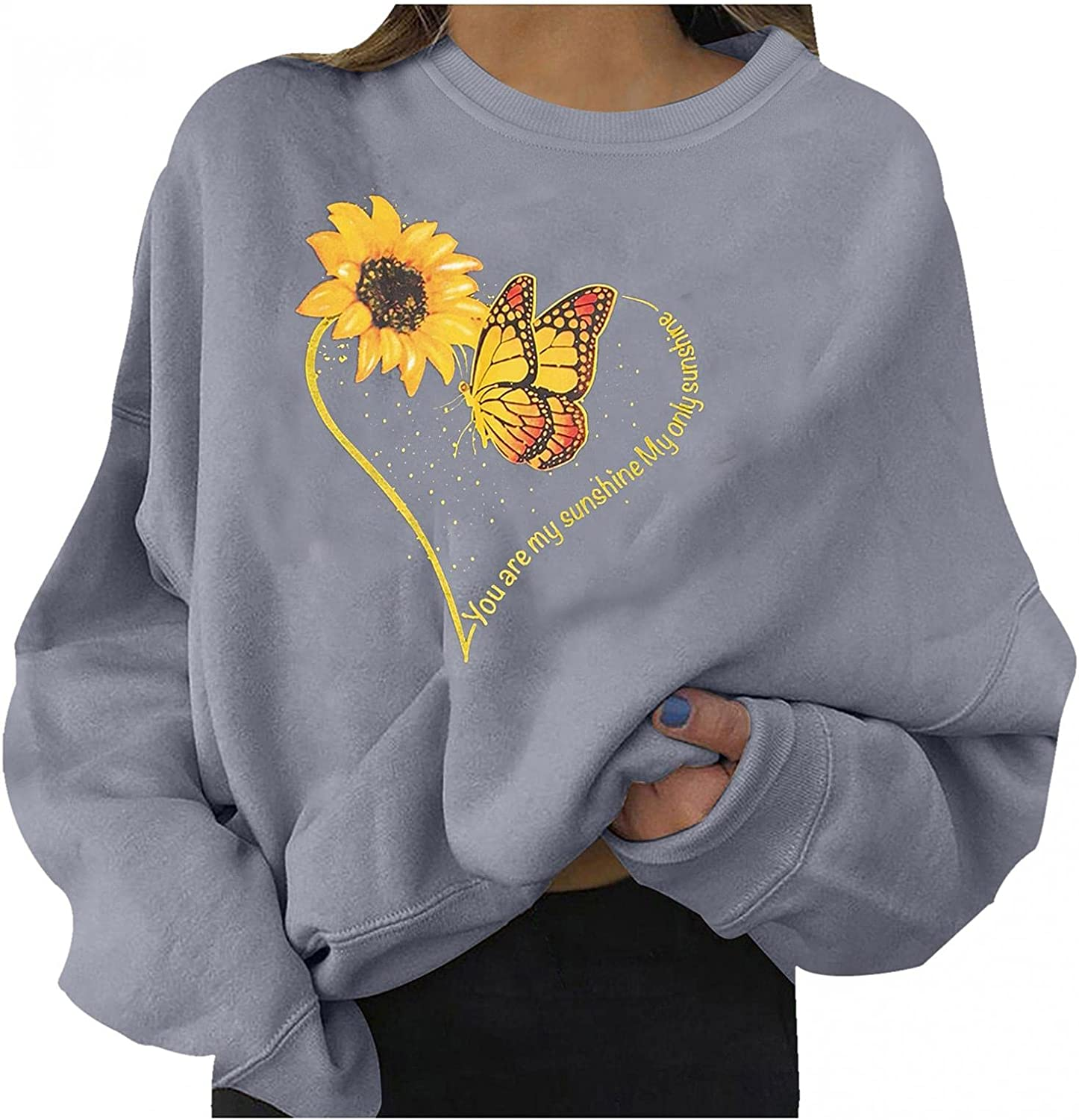 Halloween Graphic Sweatshirts for Women Fashion Crewneck Loose Fit Long Sleeve Sunflower Butterfly Heart Pullover Tops Blouse