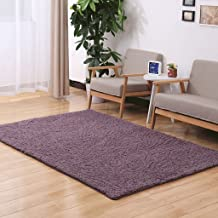 Creative Purple Suede Rectangular Rug, Living Room Kitchen Warm mat, Non-Slip Carpet (Size : 140 * 200cm-purple)