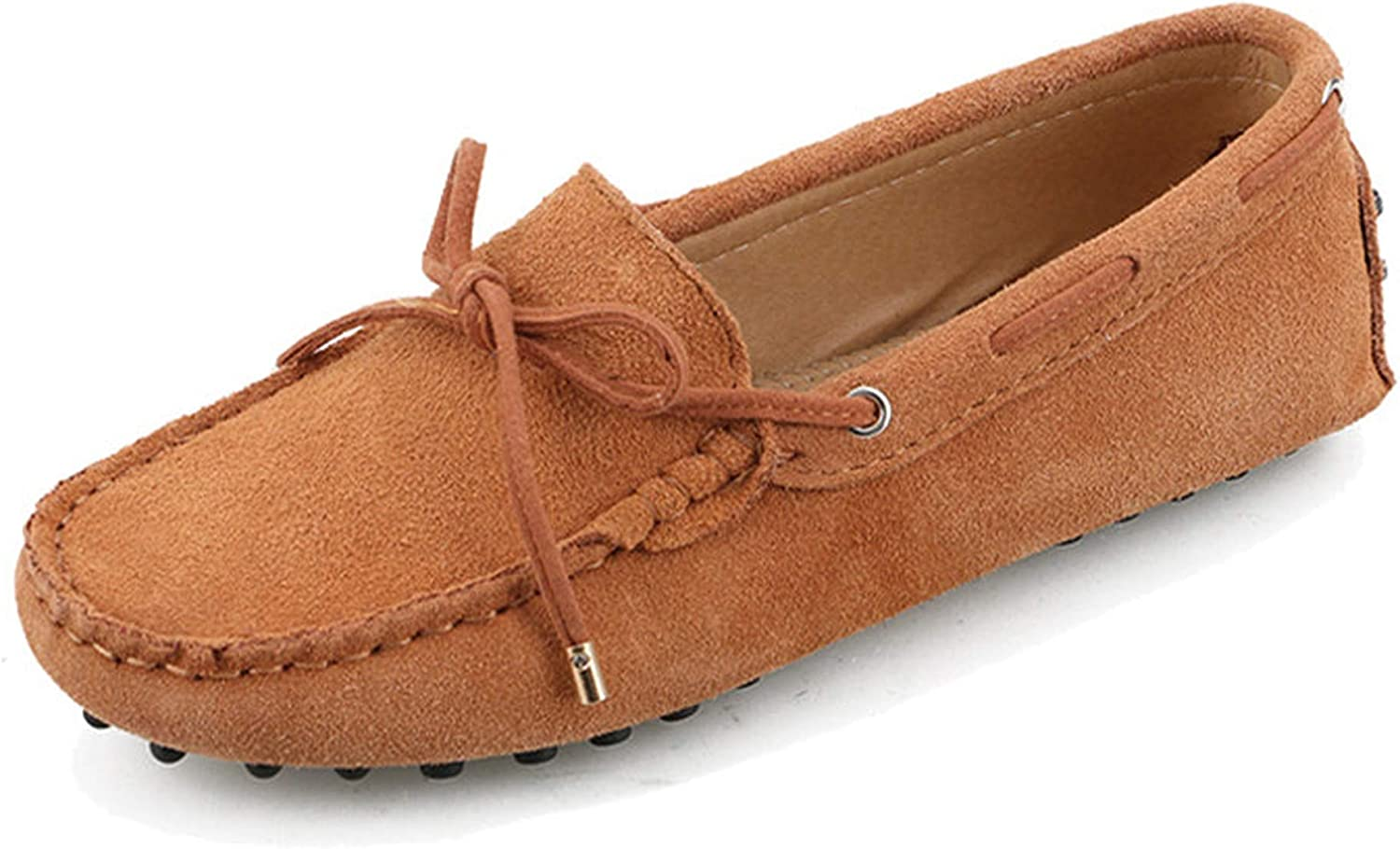 Rseobl New Women Genuine Leather Flats shoes Casual Slip On Loafers Driving shoes Ladies Bow Flat shoes