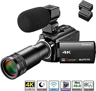 ビデオカメラ Rosdeca デジタルビデオカメラ 4K 4800万画素 16倍デジタルズーム+8倍スーパーズーム IR赤外線暗視機能 270度回転画面 望遠レンズ装着可能 3.0インチタッチパネル 予備バッテリー付属 外付けマイク カメラポーチ 日本語取扱説明書