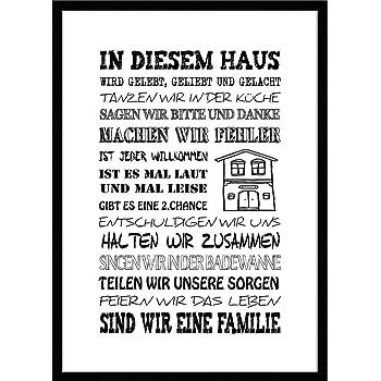 artissimo, Spruch-Bild gerahmt, 51x71cm, PE6003-ER, In diesem Haus, Bild, Wandbild mit Spruch, Spruch-Poster mit Rahmen, Geschenk-Idee, Wand-Deko, Plakat, Hausordnung, Hausregeln
