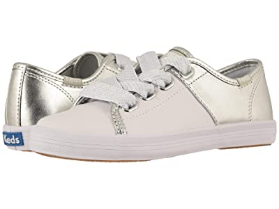 Keds Kids Kickstart Split (Little Kid/Big Kid) (White/Silver) Girl