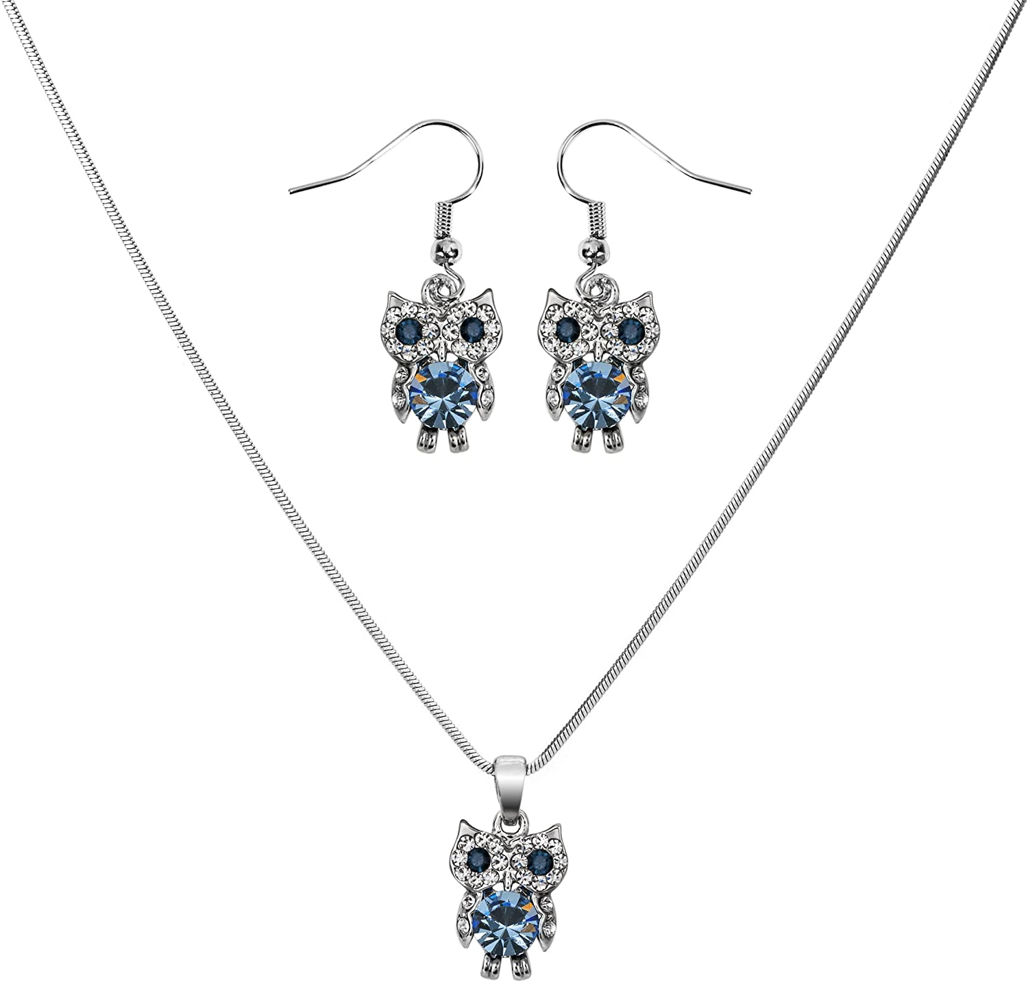 Lova Jewelry Owl Necklace and Earrings Set
