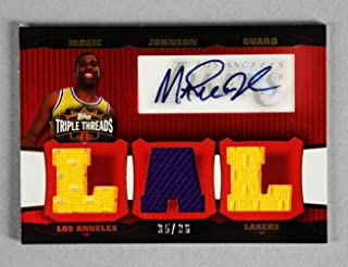 ff32d065c 2007 Topps Triple Threads Magic Johnson Signed Game-Used Lakers Jersey Card  35 36