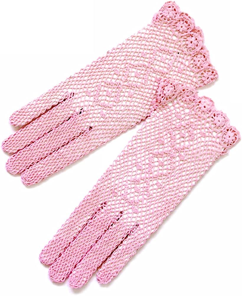 ZAZA BRIDAL Lovely Cotton Crochet Gloves with a Delicated Floral Detail