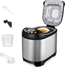 SYCEES Automatic Digital Bread Machine - 2LB Bread Maker 19-in-1 Programmable Gluten Free,Nonstick Pan,3 Loaf Sizes 3 Crus...