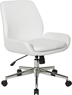 Office Star Executive Modern Mid-Back Swivel Chair with Chrome Finish Base, White