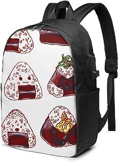 WEQDUJG Mochila Portatil 17 Pulgadas Mochila Hombre Mujer con Puerto USB, Flores Plantas Beige Mochila para El Laptop para Ordenador del Trabajo Viaje