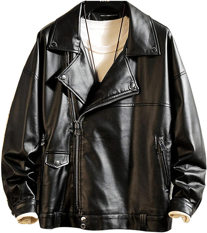 Men's Faux Leather Jacket Vintage PU Motorcycle Outwear Coat Punk Biker Jacket